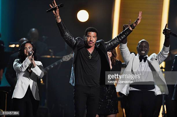 Singers Demi Lovato Lionel Richie and Tyrese Gibson perform onstage during The 58th GRAMMY Awards at Staples Center on February 15 2016 in Los...