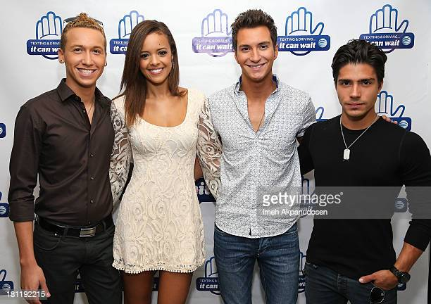 Singers Devin Velez Aubrey Cleland Paul Jolley and actor/musician Reinaldo 'Peche' Zavarce attend the 'It Can Wait Drive 4 Pledges Day' an ATT...