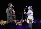 Singers Dierks Bentley and Elle King perform onstage during 2016 CMA Festival Day 1 at Nissan Stadium on June 9 2016 in Nashville Tennessee