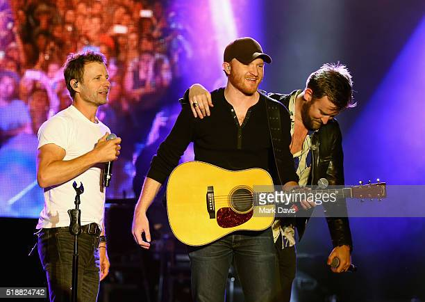 Singers Dierks Bentley Eric Paslay and Charles Kelley perform onstage at the 4th ACM Party for a Cause Festival at the Las Vegas Festival Grounds on...