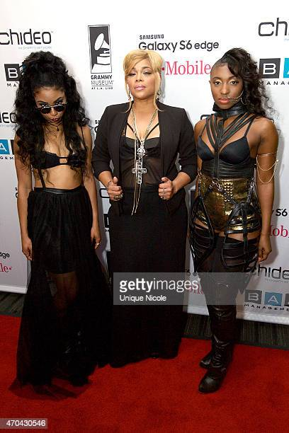 Singers Dimonae and Ahsia of the Girl Group ATLA and TBoz of the Girl Group TLC attend the acoustic concert of 'TBoz Unplugged' supporting Sickle...