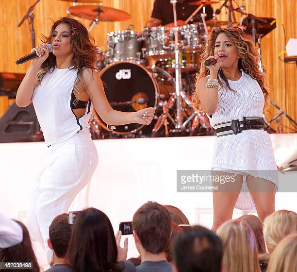 Singers Dinah Hansen and Ally Brooke of the group Fifth Harmony perform on NBC's 'Today' at the NBC's TODAY Show on July 11 2014 in New York New York