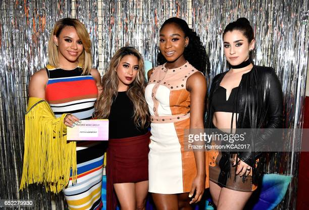 Singers Dinah Jane Ally Brooke Normani Kordei and Lauren Jauregui of Fifth Harmony winners of Favorite Music Group and Favorite Song for 'Work from...