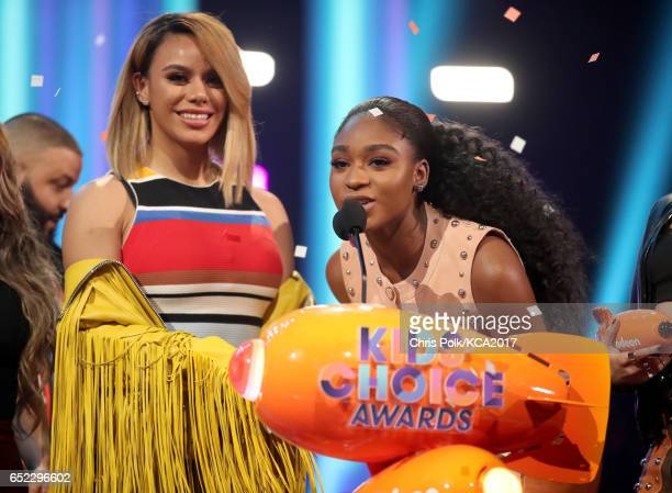 Singers Dinah Jane and Normani Kordei of Fifth Harmony accept the award for Favorite Music Group onstage at Nickelodeon's 2017 Kids' Choice Awards at...