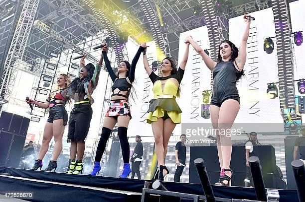 Singers Dinah Jane Hansen Normani Kordei Camila Cabello Ally Brooke and Lauren Jauregui of Fifth Harmony perform onstage during 1027 KIIS FM's 2015...