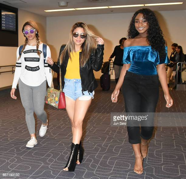 Singers Dinah Jane Lauren Jauregui and Normani Kordei of Fifth Harmony is seen upon arrival at Haneda Airport on March 24 2017 in Tokyo Japan
