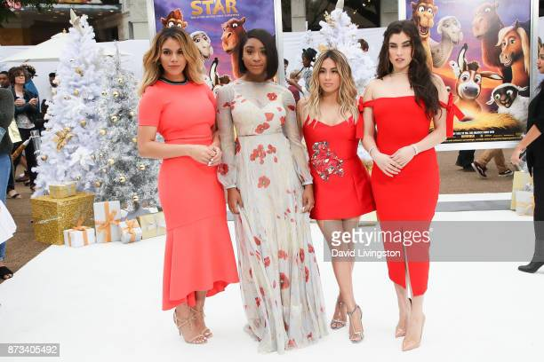 Singers Dinah Jane Normani Kordei Ally Brooke and Lauren Jauregui of Fifth Harmony arrive at the Premiere of Columbia Pictures' 'The Star' at the...