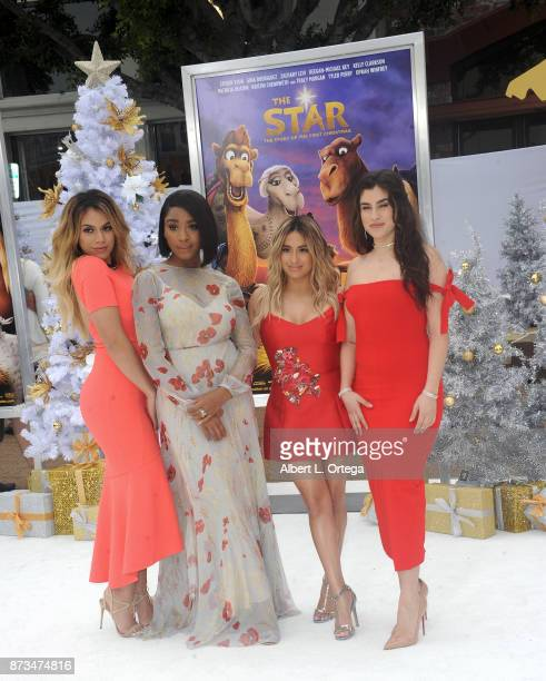Singers Dinah Jane Normani Kordei Ally Brooke and Lauren Jauregui of Fifth Harmony arrives for the Premiere Of Columbia Pictures' 'The Star' held at...
