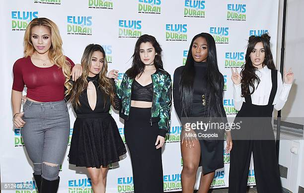 Singers DinahJane Hansen Ally Brooke Lauren Jauregui Normani Hamilton and Camila Cabello of the singing group Fifth Harmony visit 'The Elvis Duran...