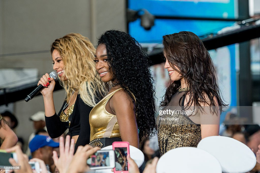 Singers Dinah-Jane Hansen, Normani Hamilton and <a gi-track='captionPersonalityLinkClicked' href=/galleries/search?phrase=Lauren+Jauregui&family=editorial&specificpeople=9766444 ng-click='$event.stopPropagation()'>Lauren Jauregui</a> of Fifth Harmony Perform On NBC's 'Today' at Rockefeller Plaza on May 30, 2016 in New York City.