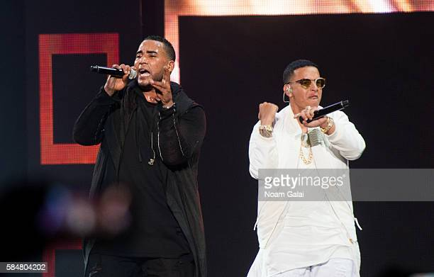 Singers Don Omar and Daddy Yankee perform during The Kingdom Daddy Yankee Vs Don Omar Tour at Madison Square Garden on July 30 2016 in New York City