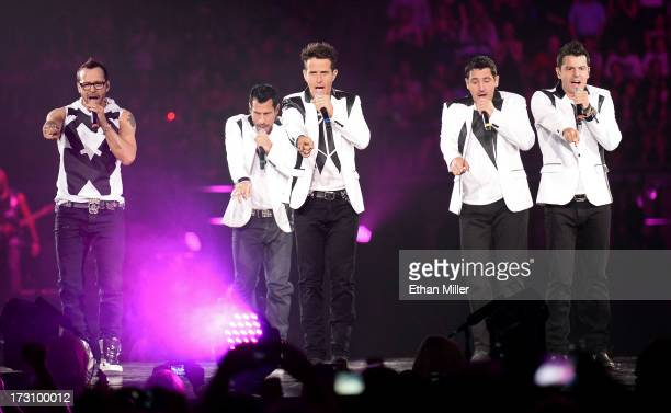 Singers Donnie Wahlberg Danny Wood Joey McIntyre Jonathan Knight and Jordan Knight of New Kids on the Block perform at the Mandalay Bay Events Center...