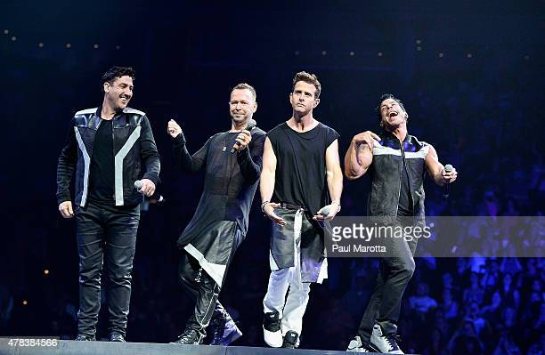 Singers Donnie Wahlberg Danny Wood Joey McIntyre Jordan Knight and Jonathan Knight of New Kids On The Block perform at TD Banknorth Garden on June 24...