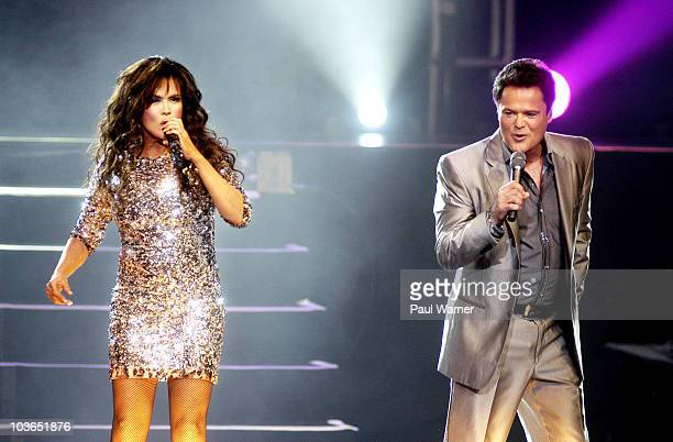 Singers Donny Osmond and Marie Osmond perform at The Venue at The Horseshoe Casino on August 26 2010 in Hammond Indiana