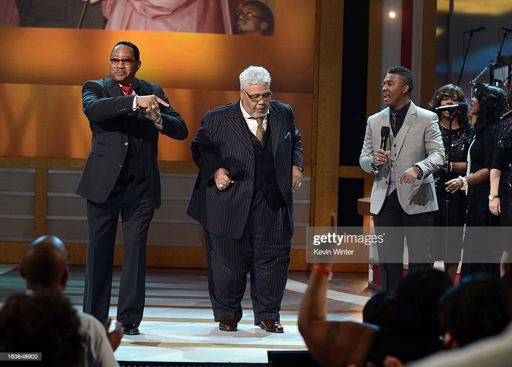 Singers Dr. Bobby Jones, Rance Allen and Joshua Rogers perform onstage during the BET Celebration of Gospel 2013 at Orpheum Theatre on March 16, 2013 in Los Angeles, California.