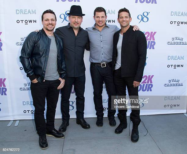 Singers Drew Lachey Justin Jeffre Nick Lachey and Jeff Timmons attend the My2k tour launch with 98 Degrees OTown Dream and Ryan Cabrera at Faculty on...