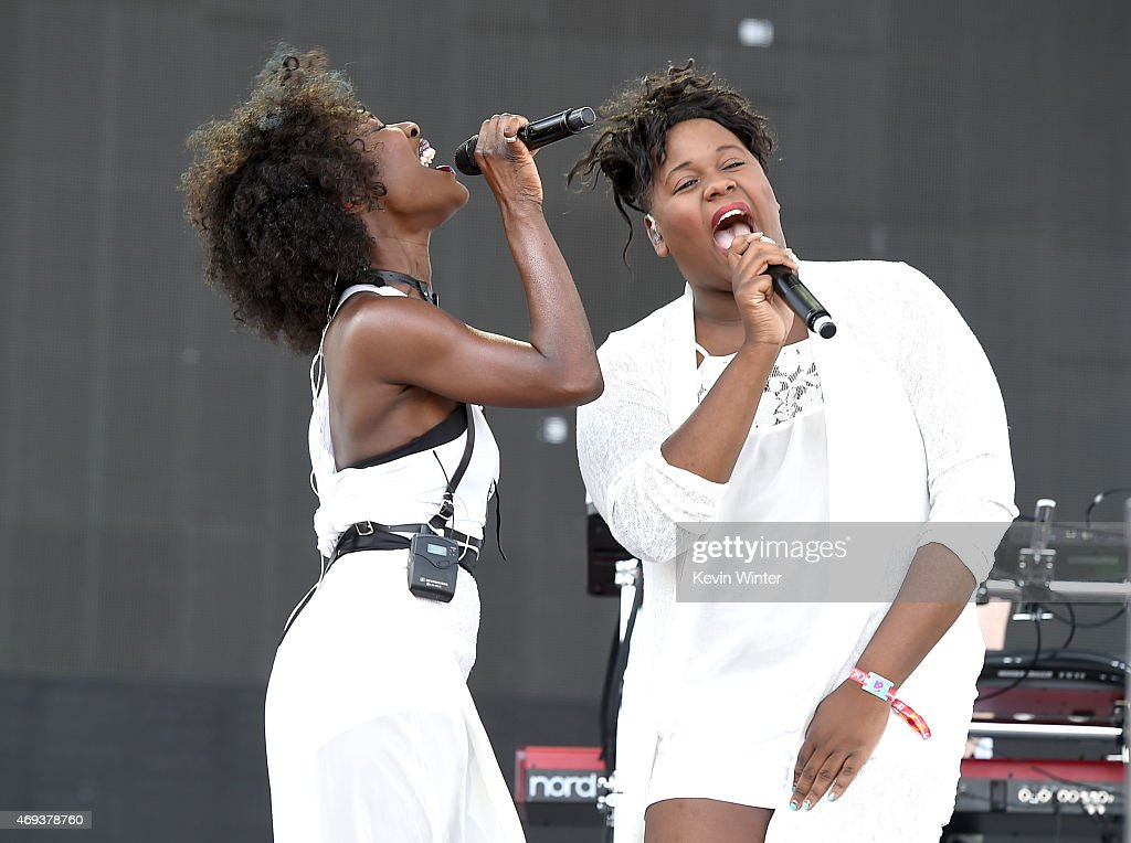 Singers Elisabeth Troy and Alex Newell perform onstage during day 2 of the 2015 Coachella Valley Music Arts Festival at the Empire Polo Club on April...
