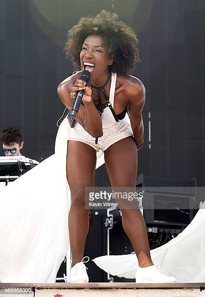 Singers Elisabeth Troy of Clean Bandit performs onstage during day 2 of the 2015 Coachella Valley Music Arts Festival at the Empire Polo Club on...