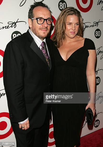 Singers Elvis Costello and Diana Krall attend Tony Bennett's 80th birthday celebration hosted by Target at The Museum of Natural History on August 3...
