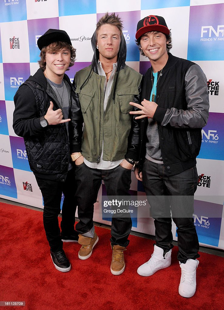 Singers Emblem3, Wesley Stromberg, Keaton Stromberg and Drew Chadwick, arrive at The Grammy Awards: Friends 'N' Family party at Paramount Studios on February 8, 2013 in Hollywood, California.