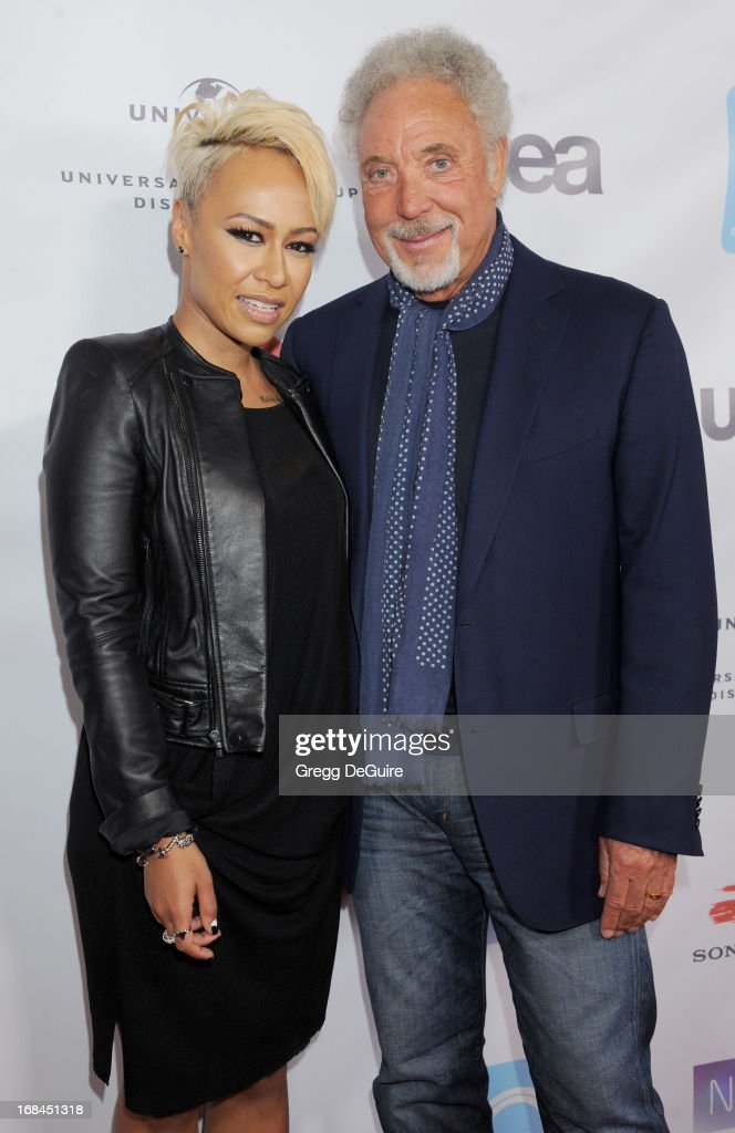Singers Emeli Sande and Tom Jones arrive at the NARM Music Biz Awards dinner party at the Hyatt Regency Century Plaza on May 9, 2013 in Century City, California.