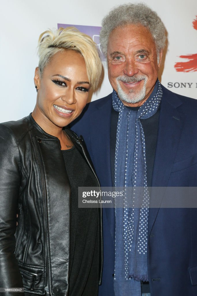 Singers Emeli Sande (L) and Tom Jones arrive at the NARM Music Biz Awards dinner party at the Hyatt Regency Century Plaza on May 9, 2013 in Century City, California.
