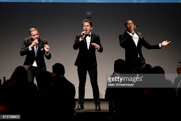 Singers Emile Welman Hugh Sheridan and Gabriel Roland perform onstage during Australians In Film's 5th Annual Awards Gala at NeueHouse Hollywood on...
