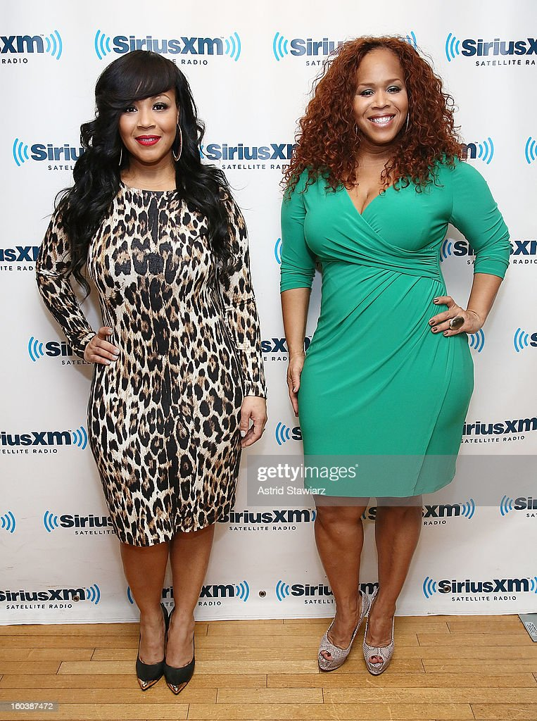 Singers Erica Atkins-Campbell and Trecina 'Tina' Atkins-Campbell, of Mary Mary, visit the SiriusXM Studios on January 30, 2013 in New York City.