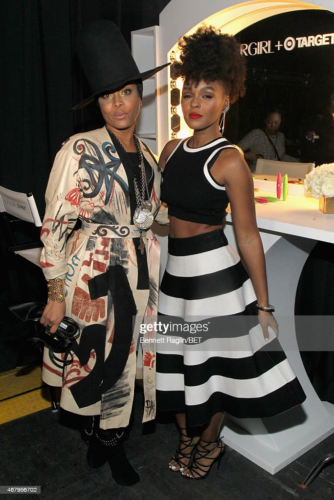 Singers Erykah Badu and Janelle Monae pose backstage at 'Black Girls Rock' BET Special at NJPAC – Prudential Hall on March 28 2015 in Newark New...