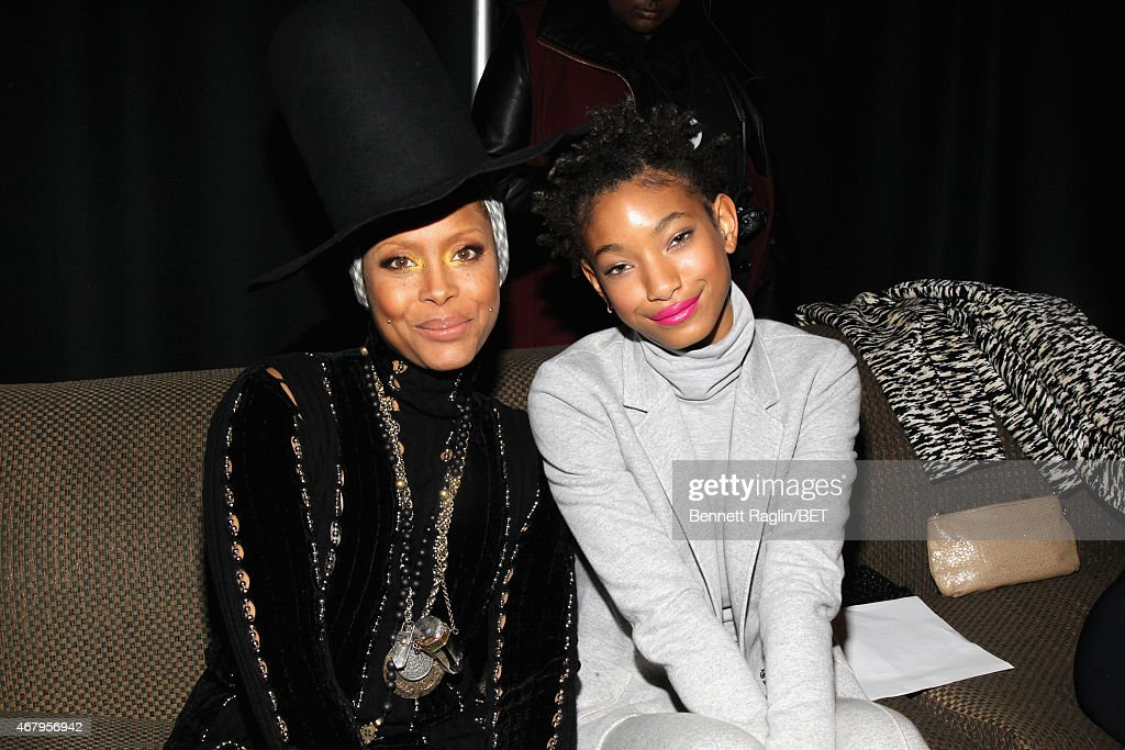 Singers Erykah Badu and Willow Smith pose backstage at 'Black Girls Rock' BET Special at NJPAC – Prudential Hall on March 28 2015 in Newark New Jersey