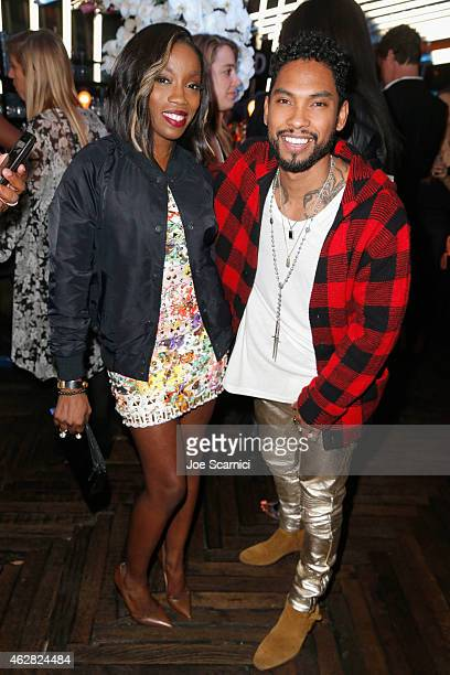 Singers Estelle and Miguel attend a celebration of the 57th annual GRAMMY Awards hosted by Delta Air Lines the official airline of the GRAMMY Awards...