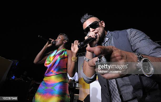 Singers Estelle and Sean Paul perform during Malibu Rum's First Day Of Summer Kick Off at Tribeca Rooftop on June 21 2010 in New York City