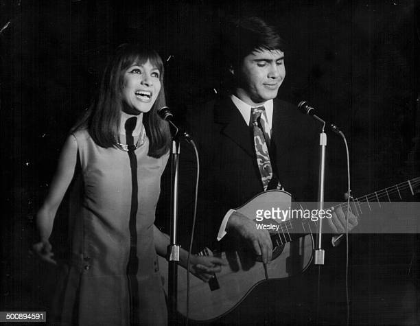 Singers Esther and Abi Ofarim rehearsing on stage before their performance at the Savoy Hotel London September 18th 1967