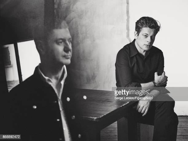 Singers Etienne Daho and Benjamin Biolay are photographed for Madame Figaro on July 23 2017 in Paris France Daho Jacket shirt Biolay Shirt jeans...