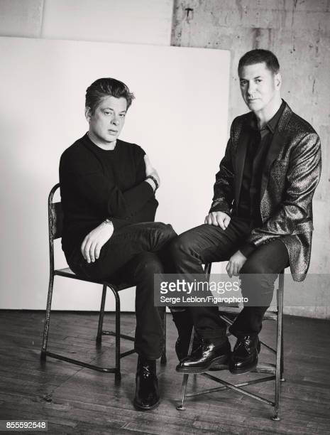 Singers Etienne Daho and Benjamin Biolay are photographed for Madame Figaro on July 23 2017 in Paris France Biolay Sweater tshirt and pants watch and...