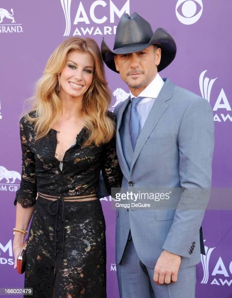 Singers Faith Hill and Tim McGraw arrive at the 48th Annual Academy Of Country Music Awards at MGM Grand Garden Arena on April 7 2013 in Las Vegas...