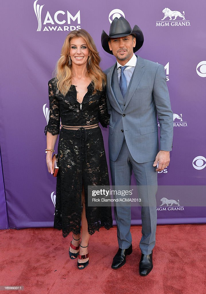 Singers Faith Hill and Tim McGraw attend the 48th Annual Academy of Country Music Awards at the MGM Grand Garden Arena on April 7, 2013 in Las Vegas, Nevada.