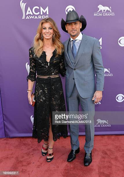 Singers Faith Hill and Tim McGraw attend the 48th Annual Academy of Country Music Awards at the MGM Grand Garden Arena on April 7 2013 in Las Vegas...
