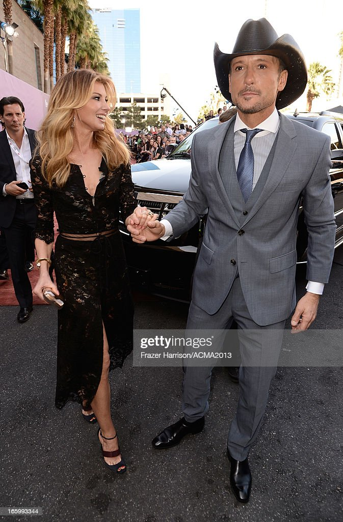 Singers Faith Hill (L) and Tim McGraw attend the 48th Annual Academy of Country Music Awards at the MGM Grand Garden Arena on April 7, 2013 in Las Vegas, Nevada.