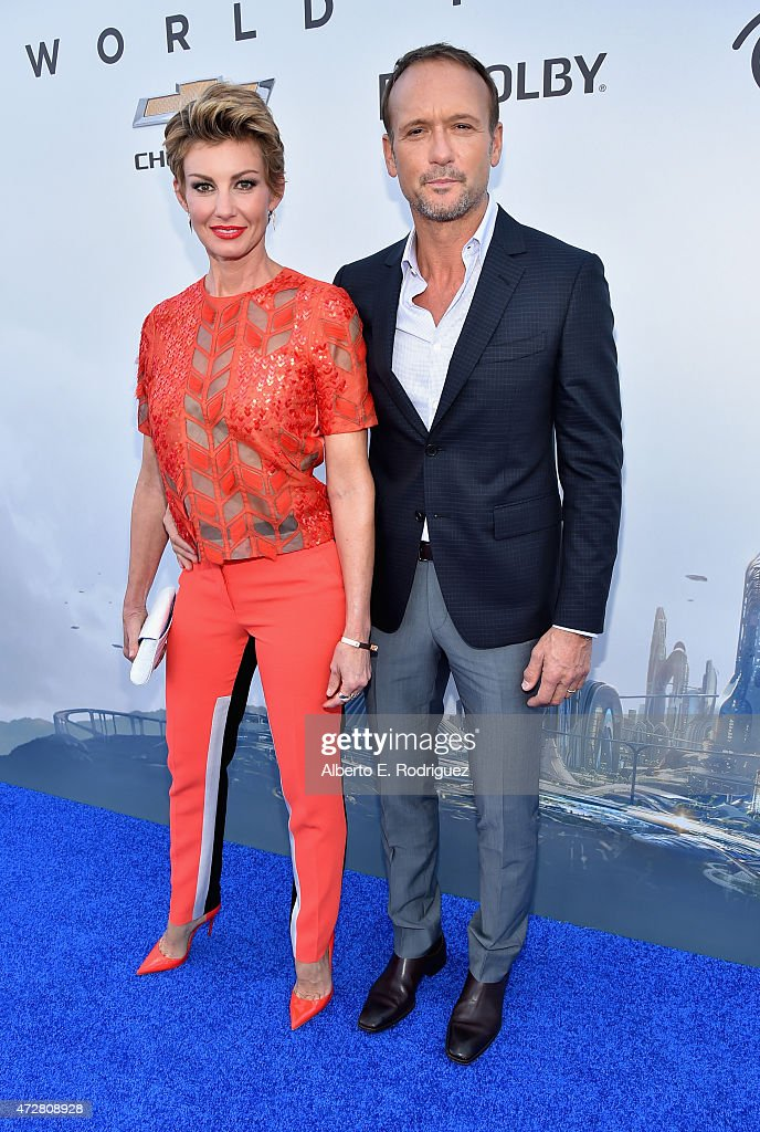 Singers Faith Hill (L) and Tim McGraw attend the world premiere of Disney's 'Tomorrowland' at Disneyland, Anaheim on May 9, 2015 in Anaheim, California.