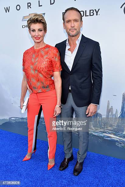 Singers Faith Hill and Tim McGraw attend the world premiere of Disney's 'Tomorrowland' at Disneyland Anaheim on May 9 2015 in Anaheim California