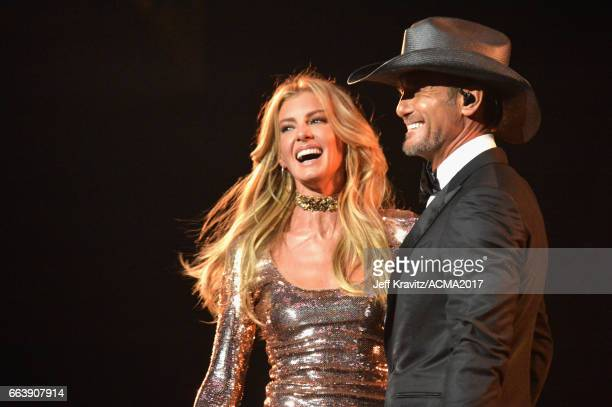 Singers Faith Hill and Tim McGraw perform onstage at the 52nd Academy Of Country Music Awards at TMobile Arena on April 2 2017 in Las Vegas Nevada