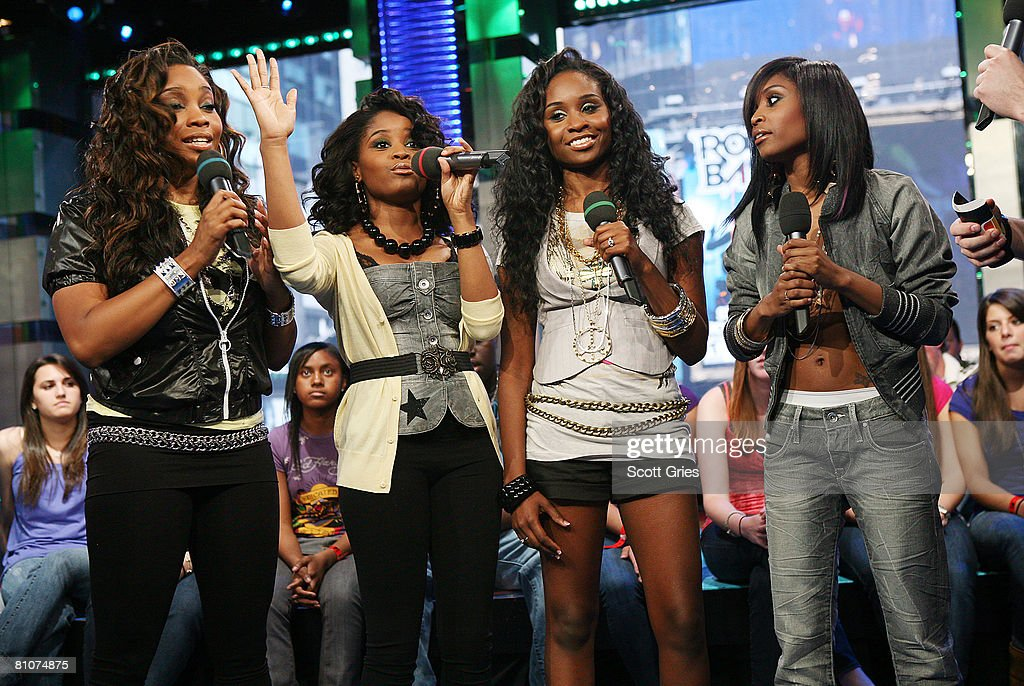 Singers Farrah King, Fallon King, Neosha King, and Felisha King of Cherish appear onstage during MTV's Total Request Live at the MTV Times Square Studios on May 13, 2008 in New York City.