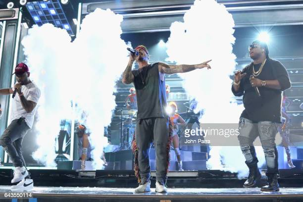 Singers Felix 'Zion' Ortiz of Zion y Lennox J Balvin and Gabriel 'Lennox' Pizarro of Zion y Lennox rehearse on stage at Univision's 29th Edition Of...