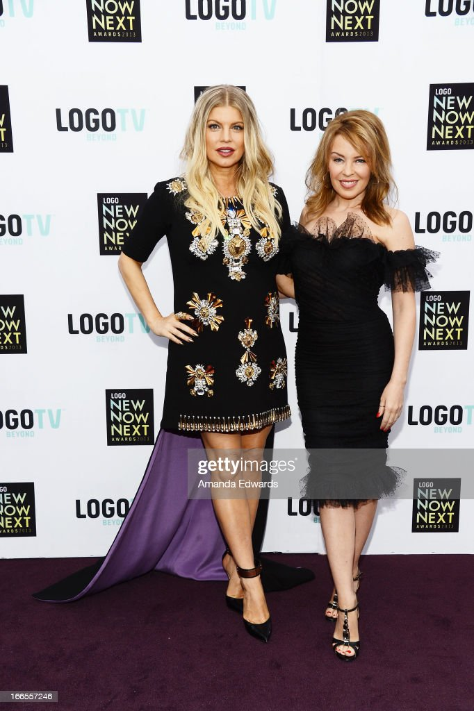 Singers Fergie (L) and <a gi-track='captionPersonalityLinkClicked' href=/galleries/search?phrase=Kylie+Minogue&family=editorial&specificpeople=201671 ng-click='$event.stopPropagation()'>Kylie Minogue</a> arrive at the Logo NewNowNext Awards 2013 at The Fonda Theatre on April 13, 2013 in Los Angeles, California.