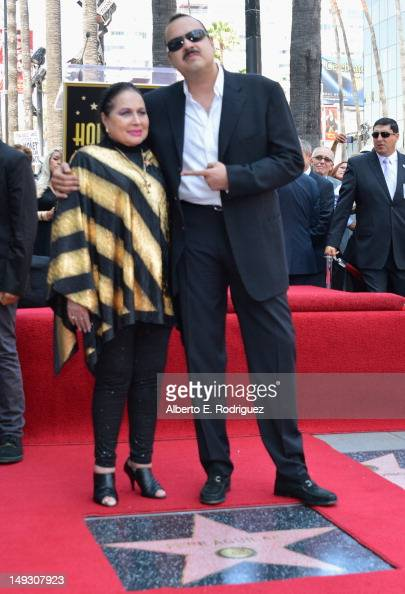 Singers Flor Silvestre and Pepe Aguilar attend a ceremony honoring singer Pepe Aguilar with the 2474th Star on the Hollywood Walk of Fame on July 26...