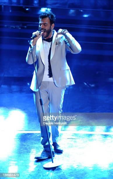 Singers Francesco Renga performs on stage at the opening night of the 62th Sanremo Song Festival at the Ariston Theatre on February 14 2012 in San...