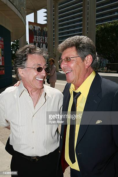 Singers Frankie Valli and Frankie Avalon arrive at the opening night performance of 'Jersey Boys' the 2006 Tony Award winner for Best Musical that...