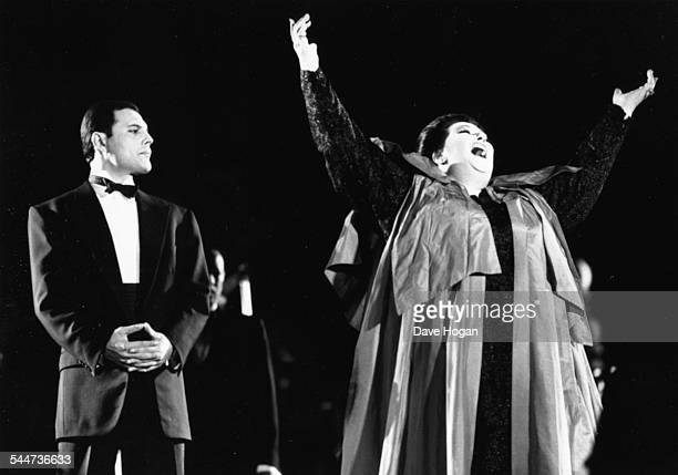 Singers Freddie Mercury and Montserrat Caballe performing their song 'Barcelona' at the cultural Olympiad in Barcelona Spain October 11th 1988