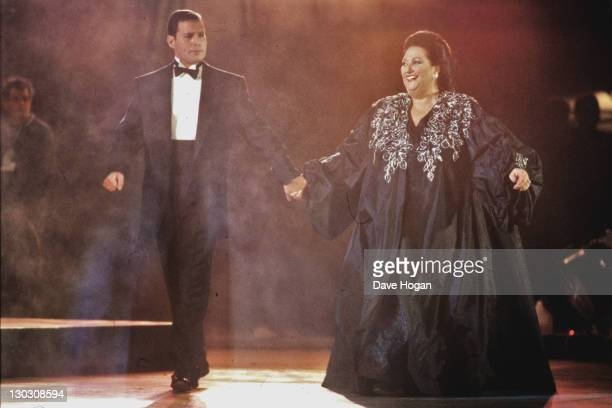 Singers Freddie Mercury of British rock band Queen and Montserrat Caballe perform a duet at La Nit in Barcelona's Castle Square for the 1992 Cultural...
